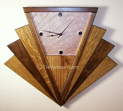 Art Deco Machine Age Inspired Fan Wall Clock Quarter Sawn Oak Walnut Copper