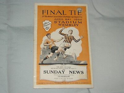 FA CUP FINAL PROGRAMME-1926-BOLTON v MAN CITY-HIGHLY SOUGHT AFTER-ORIGINAL