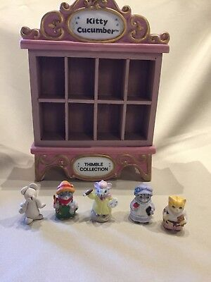Schmid Kitty Cucumber Pink Thimble Cabinet Music Box with 4 Cat Thimbles