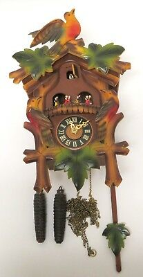 Black Forest Style Cuckoo Clock Colorful Birds & Leaves Scene w/ 2 Weights As-Is