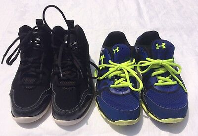 Under Armour Lot Of 2 boy's size 2.5Y Black & Gray High Top & Sz 3Y Blue Yellow