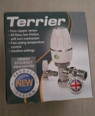 Pegler Terrier TRV Thermostatic Radiator Valve angled white head 15mm new type