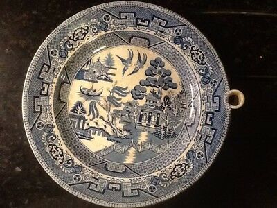 Antique Warming Plate transfer ware pottery blue and white willow pattern