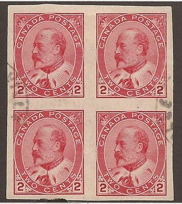 CANADA #90a USED BLOCK OF 4 VF