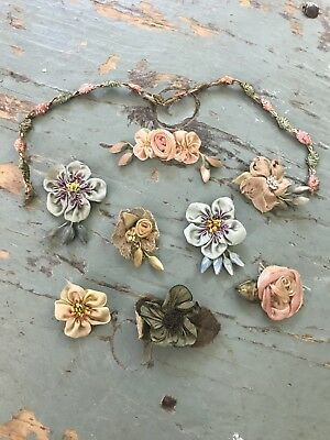 Vintage French Silk Ribbon Work Flower Flowers Doll Sewing/Millinery Trim Piece