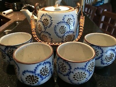 BEAUTIFUL CERAMIC HAND PAINTED JAPANESE TEA SET with KETTLE AND 4 CUPS 70's era