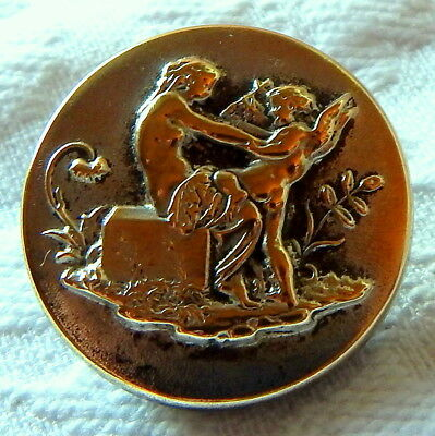 ANTIQUE FRENCH SILVERY-BRASS MYTHOLOGICAL PICTURE BUTTON w/CUPID & PSYCHE