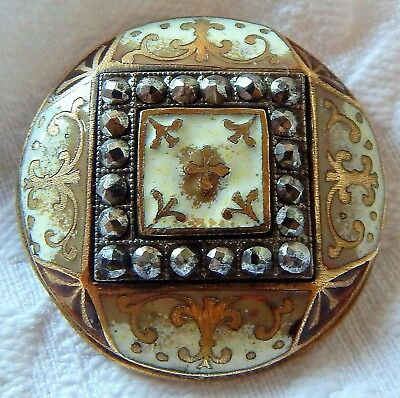 """ANTIQUE 1 1/2"""" GILT BRASS RICH IVORY & TAUPE CHAMPLEVE ENAMEL BUTTON w/STEELS"""