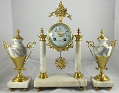 Antique 19th c French Gilt Brass & Marble Portico 8 Day Bell Mantel Clock Set