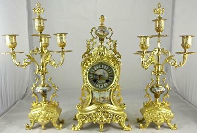 Antique French 19th c gilt bronze & Sevres Porcelain mantle clock garniture set