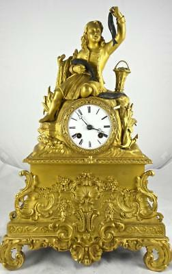 Antique French Empire Vincenti 1840's Gilt Ormolu Bronze Figural Mantle Clock