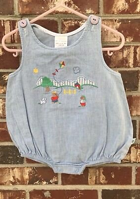 Vintage Baby Boy Bubble Romper Denim Embroidered Bears Kite 6/9 Months