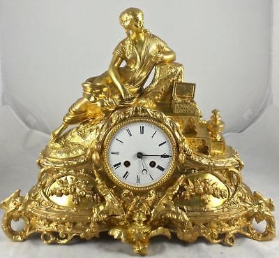 Antique French 19th c Gilt Ormolu Bronze Figural Mantle Clock - Beautiful Clock
