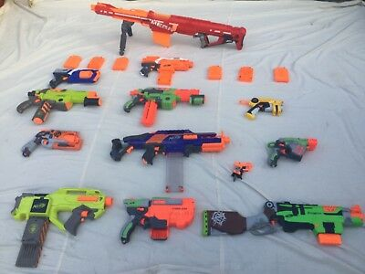 Large Collection Of 13 Nerf Guns And Magazines. Job lot, clearance sale.