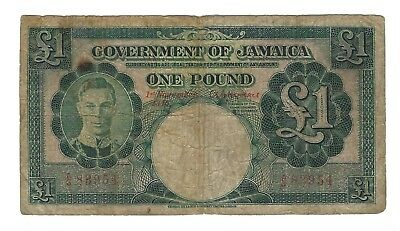 1940 Jamaica 1 Pound, Red Serial Numbers, P-40a VERY SCARCE 1 YEAR TYPE NOTE