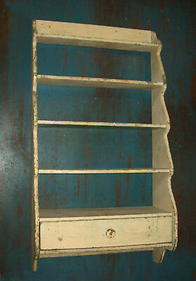 Antique Vtg 19th C 1880s Wooden Wall Shelf Scalloped Sides One Drawer Shelves