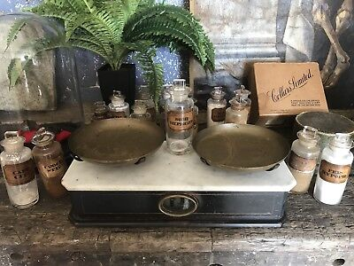 Antique Italian Counter Top Marble Brass Ebonised Wood Wooden Apothecary Scales