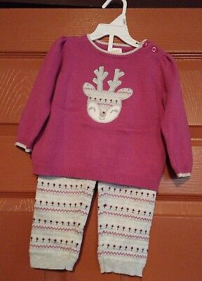 b9d14ebe3802 Gymboree Girls mulberry   pine sweater Outfit Size 0-3 mos. NWT