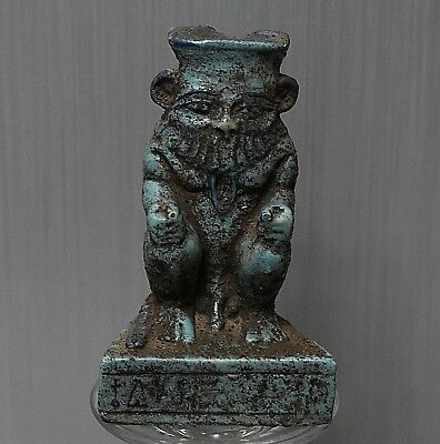ANCIENT ANTIQUE Egyptian beautiful faience statue of BES (300-1500 BC)
