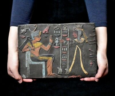 ANCIENT ANTIQUE Egyptian plaque Seti I Getting Gifts Stela Relief 1323-1279 BC
