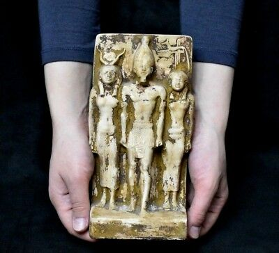 ANCIENT ANTIQUE Egyptian sandstone triad of King Menkaure, Hathor, and Hare