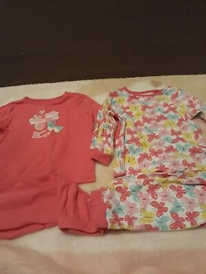 Baby Girls 2 Pairs Of Butterfly Pyjamas Size 9-12Months From George Ex Con