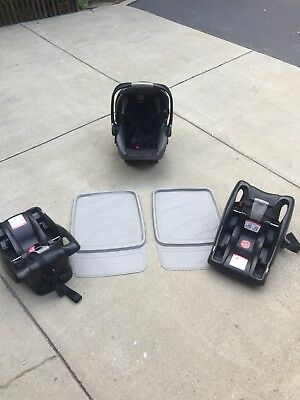 Britax B-Safe Infant Car Seat, 2 bases, protective seat pads
