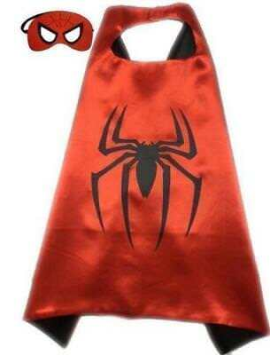 New Red spider-man Kids Superhero Cape +Mask Boy Girl Party Costume Set 01