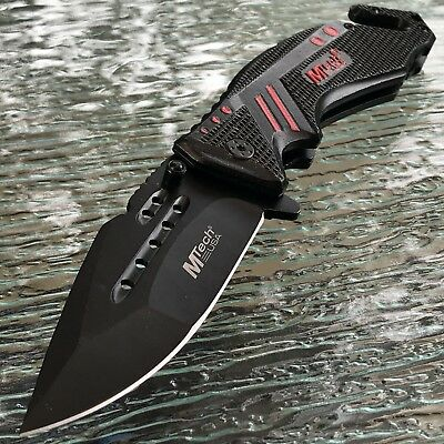 Mtech Spring Assisted Tactical Black Red Folding Rescue Blade Pocket Knife Edc