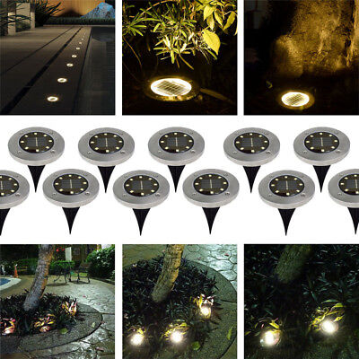 10PCS 8/12 LED Solar Power Buried Light Under Ground Lamp Outdoor Walkway Garden