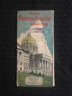 Pennsylvania Official Road Map 1937, Distributed by R.H. Weaver, DuBois PA