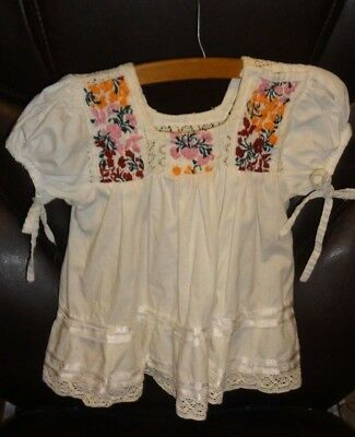 Vintage Handmade Off White & Embroidered Toddler Dress 2T - 4T