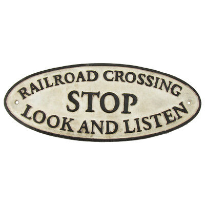 Antique/Vintage Style Cast Iron Railroad Crossing RR Xing Sign Train Room Decor