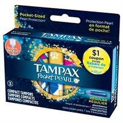 Tampax Pocket Pearl Compact Regular Absorbency Unscented Tampons, 3 Count... New