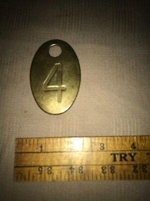 Antique Brass Number Tag 4 Dairy Farm Cattle Marker Double Sided Milk Cow
