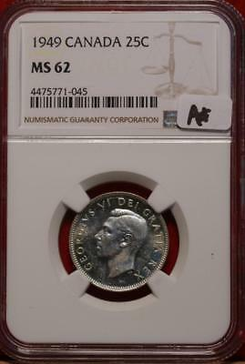 1949 Canada 25 Cents Silver Coin NGC Graded MS 62