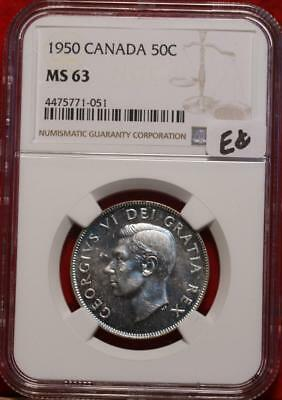 1950 Canada 50 Cents Silver Coin NGC Graded MS 63