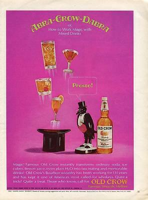 Old Crow Whiskey Ad Abra-Crow-Dabra Print Ad How To Work Drink Magic - Frame It!