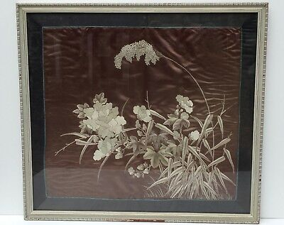 19Thc Antique Aesthetic Movement Chinese Framed Floral Embroidered Silk Picture