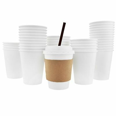 100 Pack - 16 Oz [8, 12, 20] Disposable Hot Paper Coffee Cups, Lids, Slee... New