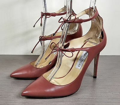 ec3ee2a382d Jimmy Choo Sage Pump, Purple, Vintage Red Leather, Womens Size 8 / 38