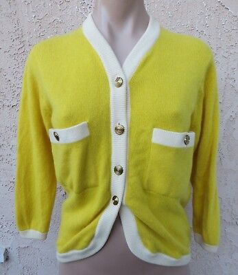 Vintage 1960's Ballantyne Bonnie Cashin yellow/wht cashmere cardigan sweater