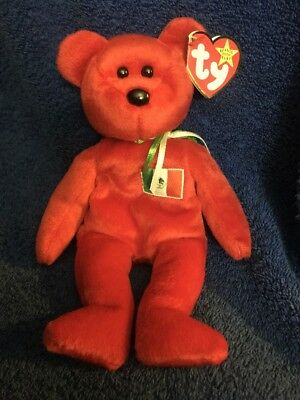 Ty Beanie Babies 1999 Osito Red Mexico Bear PE Tag Dented Edge