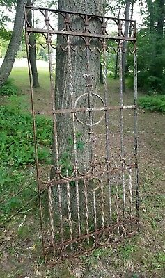 Antique Victorian Iron Gate Window Garden Fence Architectural Salvage Old 33x77""
