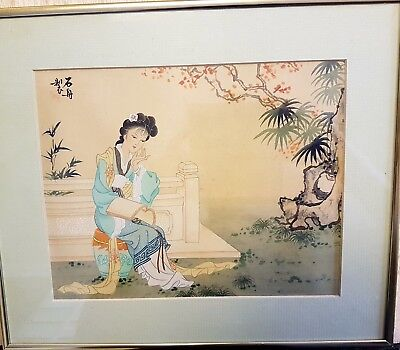 japanese painting on silk signed framed
