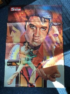 RARE VINTAGE ELVIS PRESLEY POSTER FROM THE SUN NEWSPAPER AUGUST 10 1978 1970's