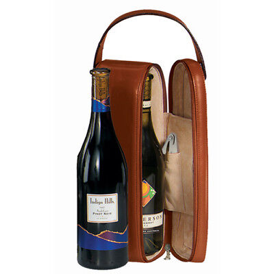 Royce Suede Lined Single Wine Carrying Case, Genuine Leather & Pig Suede, Tan