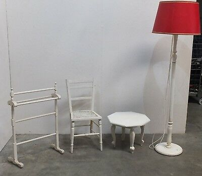 Collection Of Antique White Painted Shabby Chic Furniture/ 4 Items (94)