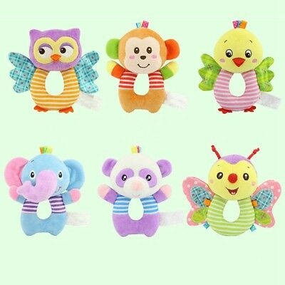 Soft Cartoon Animal Plush Rattles Hand Grasp Squeeze Toy Baby Developmental Toys