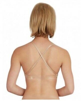 Capezio womens bra seamless clear back with adjustable straps 3836 XS